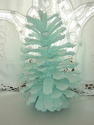 Shabby Coastal Decor Cyan Hand Painted Pinecone Beach House Cottage Decor