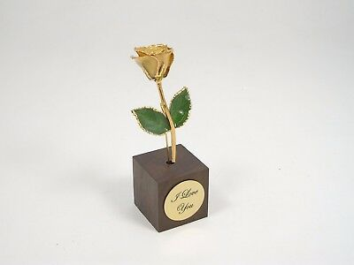 """3"""" 24k Gold Dipped Ivory Rose in Square Stand (Free Anniversary Gift Box)"""