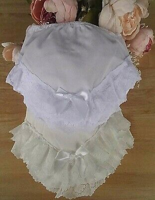 Baby Girl White Cream Wide Lace Bow Frilly Pants Knickers Occasion 0-6-12-18-24m