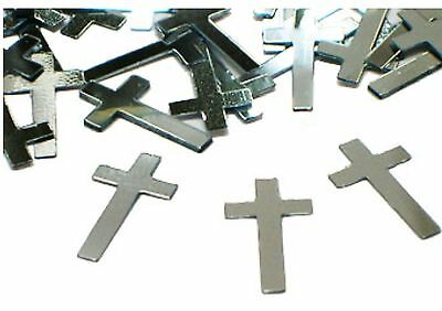 Christening Communion Religious Theme Silver Crosses Party Table Foil Confetti