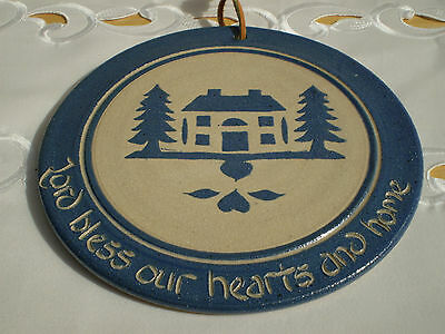 RUSTIC PLAQUE *Lord Bless Our Hearts and Home* signed POTTER'S MARK, PA ~Vintage