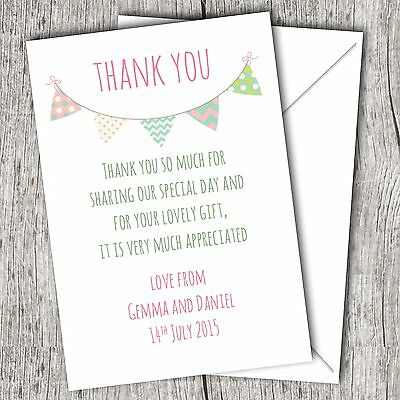 Personalised WEDDING Thank You Cards (Postcards) • Fast Post • Bunting