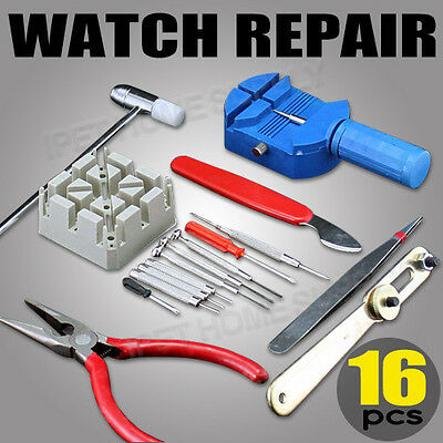 16 Pieces Watch Repair Kit Set Wrist Strap Adjust Pin Tool Kit Back Remover Fix