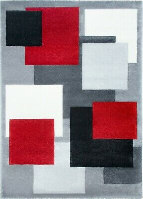 New Thick Modern Carved Grey Red Square Floor Rugs Soft Pile Long Mats Runner