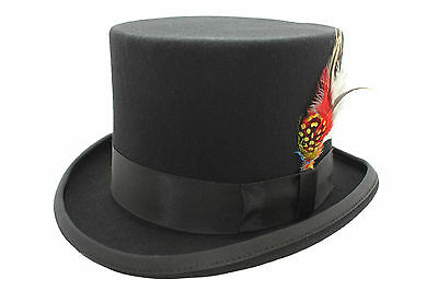 Superb Black Wool Top Hat With Headband And Satin Lining