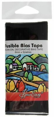 Sew Easy Quality Black Fusible Bias Tape 5m x 6mm