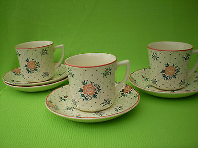 Johnson Brothers England Ironstone Monticello Cups & Saucers Set Of 3