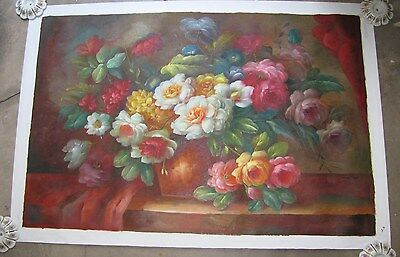 """Hand Painted Oil Painting On Unstretched Canvas Still Life 24"""" x 36"""" Annual Sale"""