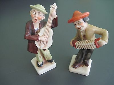 Vintage musician figurines accordian and guitar made in Germany 20400 + 20398