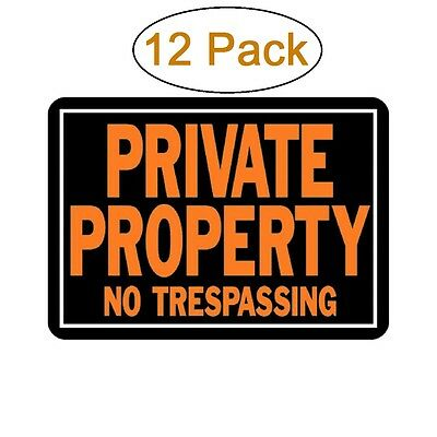 """Hy-Ko Private Property No Trespassing Sign, Aluminum 10"""" x 14"""", 12 Pack, #848"""