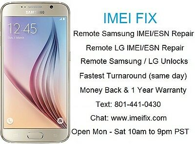 **REMOTE** T-Mobile & AT&T Galaxy S5 Bad IMEI ESN Blacklisted Repair (SAME DAY)