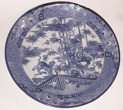 "Antique Japanese Imari Charger Plate White & Blue Tigers Scene 11.25"" 19Thc"