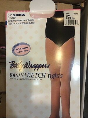 Body Wrappers C80 TPK LPK PINK CHILD CHILDREN Footed Dance Tights XS/S  M/L