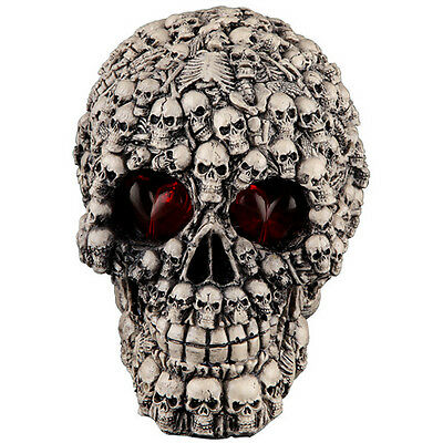 New Home & Office Tabletop Decorative Red Eyes Lighted Up Skull Resin Figurine