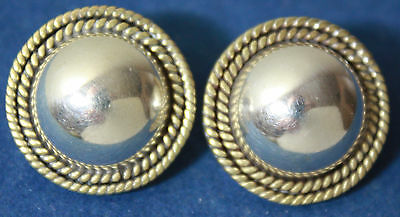 Vintage Sterling Silver 925 Mexico Taxco Gold & Silver Tone Braded Earrings