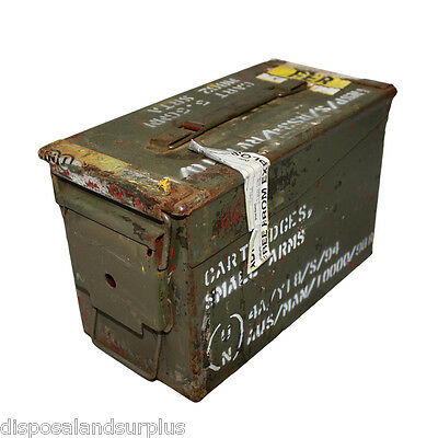 "50 CAL Ammo Box Ammunition Steel Box Tool Box Ex Army Used ""GRADE B"""