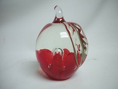 Joe St Clair Art Glass Red Figural Apple Paper Weight Signed Mint