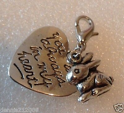 Charm dangle European clip-on keyring pet loss memorial Rabbit on my heart CN102