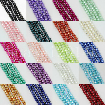 Wholesale Glass Pearl Round Spacer Loose Beads Charms Jewelry Making 4mm,6mm,8mm