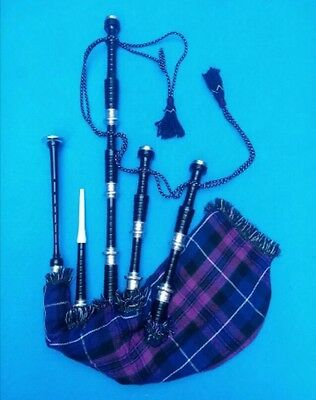 Scottish Highland Bagpipes Rosewood Black Silver Ready to Play/Irish Bagpipes