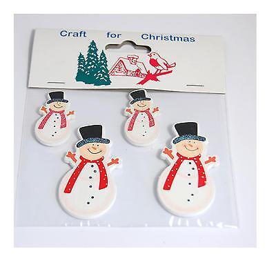 Christmas Embellishments - Wooden Painted Christmas Shapes Snowmen