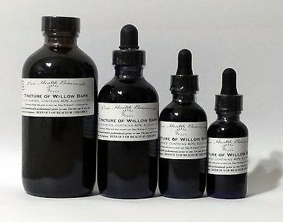 Willow Bark Tincture, Salicin, Pain relief, Extract, Multiple Sizes