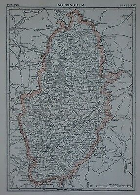 Original 1888 Shire Map NOTTINGHAM England Sherwood Forest Chesterfield Canal