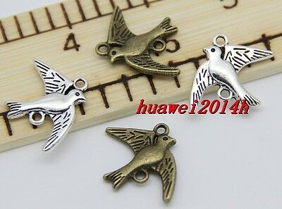 20/60pcs Antique Silver/Bronze Lovely Seagull Charms pendant Connector 21x17mm