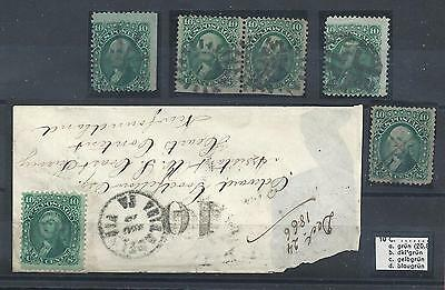 1861 United States/USA, n° 24/24a  10 cent. verde - 6 usati