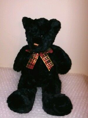 "Adorable 15"" LORD & TAYLOR black cuddly Teddy Bear excellent christmas bow Cute"