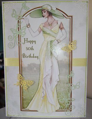 Art Deco Personalised Handmade 50Th Birthday Card A Spring Summer Elegant Lady