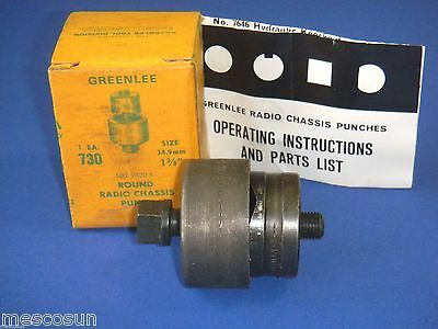 """GREENLEE Model 730 1 3/8"""" Round Radio Chassis Knockout Punch # 500 2420.5 NOS"""