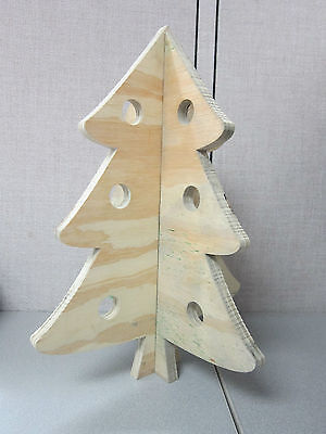 """Wooden Christmas Tree slotted 17.5"""" tall - Holiday Decor Display Decoration"""