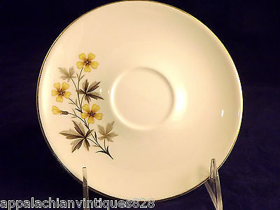 Vintage Knowles Sun-Light X-5051 Yellow Daisy Cup Saucers China 1950s