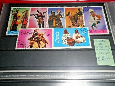 """Liberia 1967 """"dance And Instruments"""" Used Set (Cat.9)"""