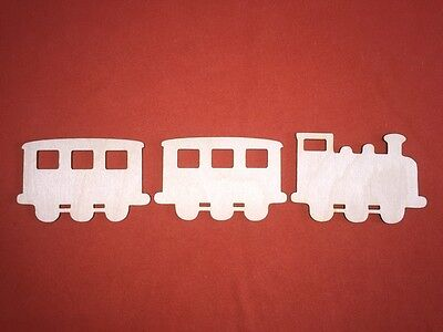 1 TRAIN & 2 WAGONS with windows WOODEN SHAPE PLAQUES PLAIN HANGING CRAFT TAG
