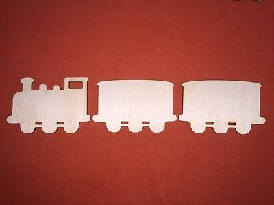 1 Train & 2 Wagons  Wooden Shape Plaques Plain Hanging Embellishments Craft Tag