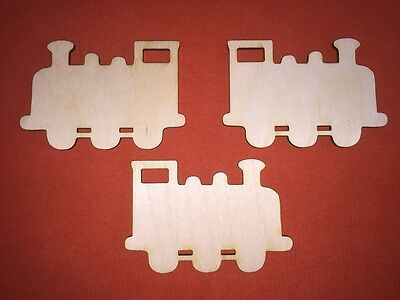 3 x TRAIN  WOODEN SHAPE PLAQUES PLAIN HANGING EMBELLISHMENTS CRAFT TAG