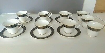 Six Royal Doulton Cup & Saucers, Albany H5041, White w/ Black,Blue,& Gold Trim