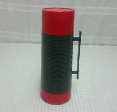 Vintage Aladdin Thermos Red & Gray Vacuum Bottle 1Qt