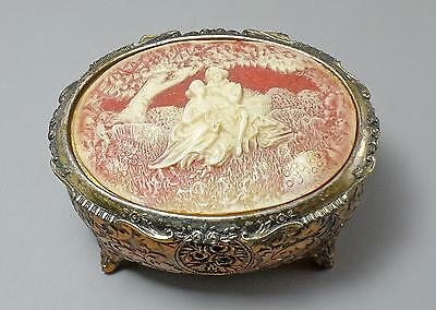 Vintage Sankyo Music Jewelry Box Victorian Couple Bas Relief Japan Works Well