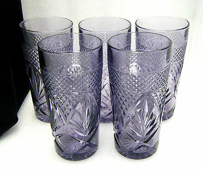 Set of 5 Cris D'Arques Durand Antique Amethyst Purple Glasses Tumblers