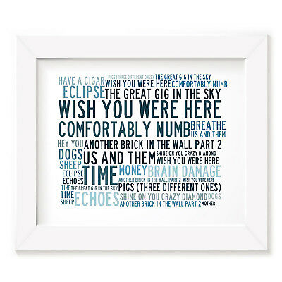 `Crystalline` PINK FLOYD Art Print Typography Song Lyrics Signed Numbered Poster