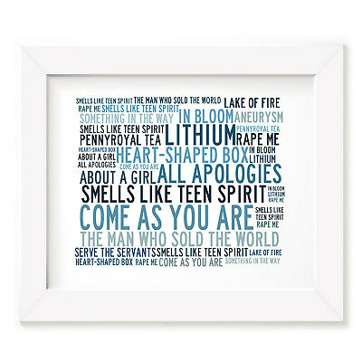 `Crystalline` NIRVANA Art Print Typography Song Lyrics Signed & Numbered Poster