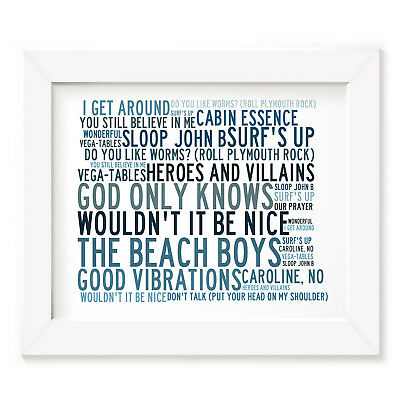`Crystalline` BEACH BOYS Art Print Typography Song Lyrics Signed Numbered Poster