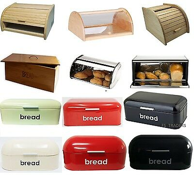Retro Style Steel Wooden Bread Bin Box Kitchen Food Storage Loaf Vintage Kitchen