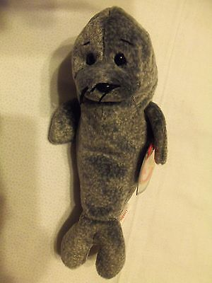 TY Beanie Babies Gray Seal ** SLIPPERY ** 5th Generation New w/ Tag