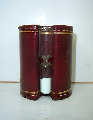 VTG 3 MIN ADVERTISING HOURGLASS MAROON LEATHER HARVARD BED FRAMES J F HANKINS