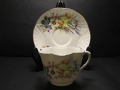 CROWN CHINA STAFFORDSHIRE CUP& SAUCER WHITE WITH FLORAL PATTERN DAINTY STYLE