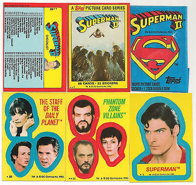 1980 Superman 2 Complete Set ( 88 Cards) W/ 22 Stickers + Wrapper
